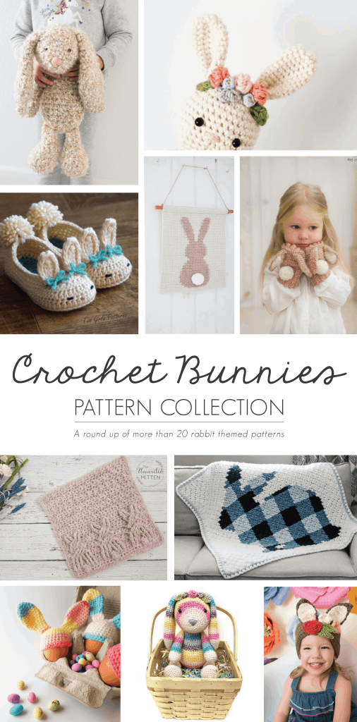 A collection of crochet bunny rabbit patterns, including crochet bunny softie, crochet bunny rattle, crochet rabbit wall hanging, crochet bunny hat and slippers, crochet bunny blanket