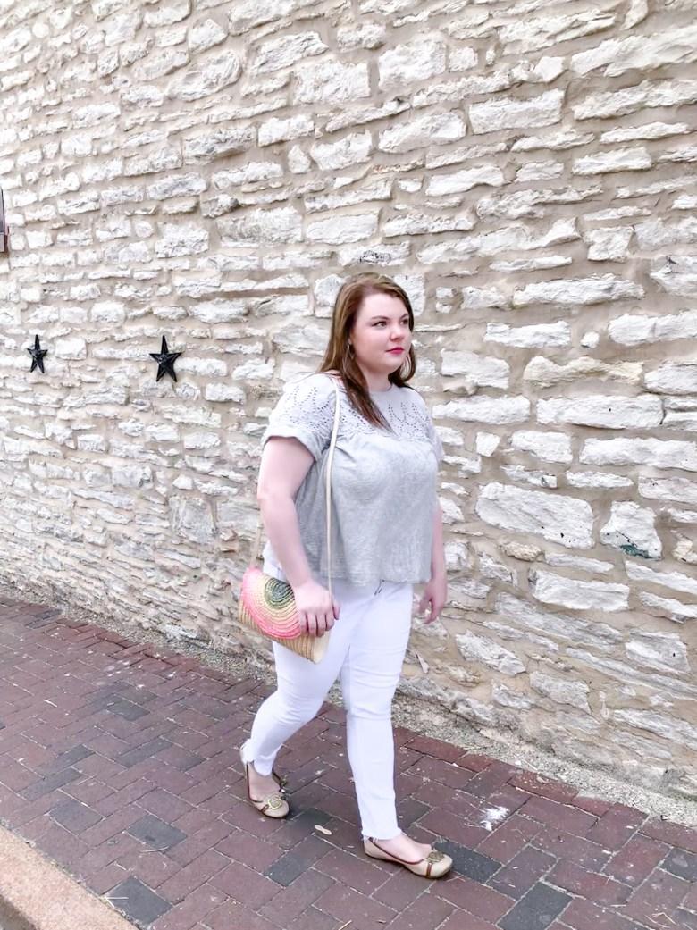 J Crew Eyelet Top, White Jeans