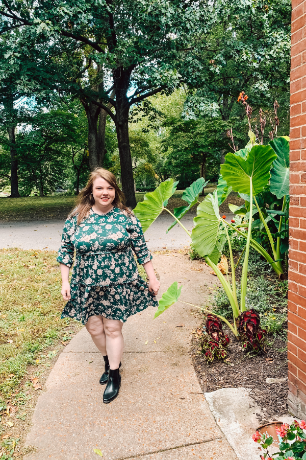 Blogger wearing floral dress in Lafayette Park St. Louis