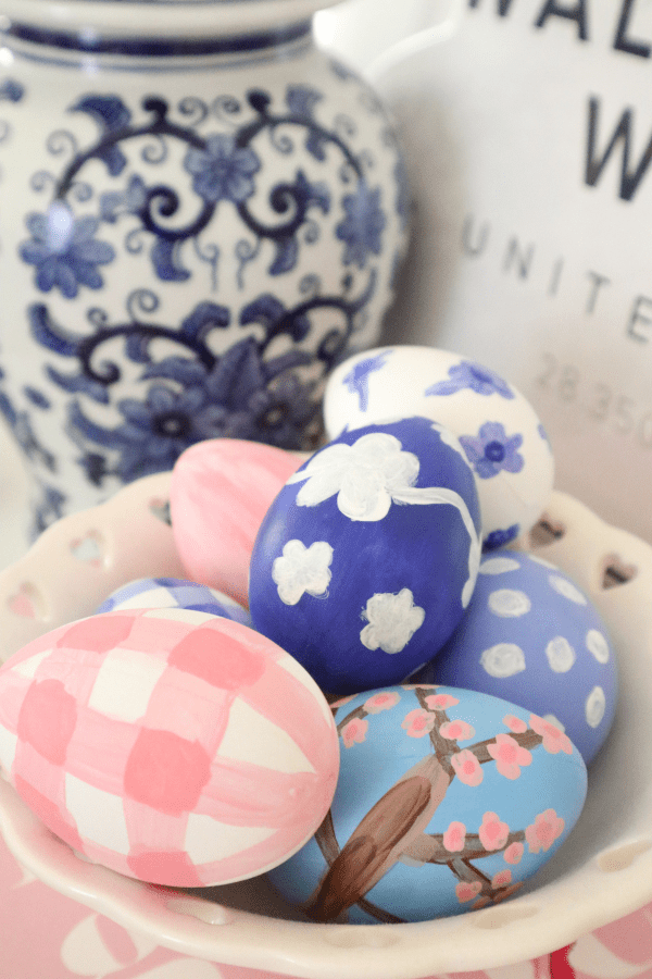 Painted Easter eggs gingham, cherry blossoms, and blue and white