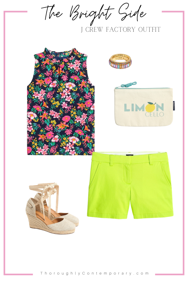 Floral top and lime green shorts outfit
