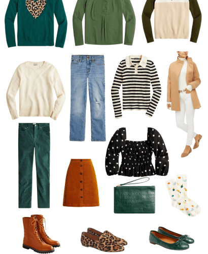 Collage of fall wardrobe items from Jcrew and Jcrew Factory stores