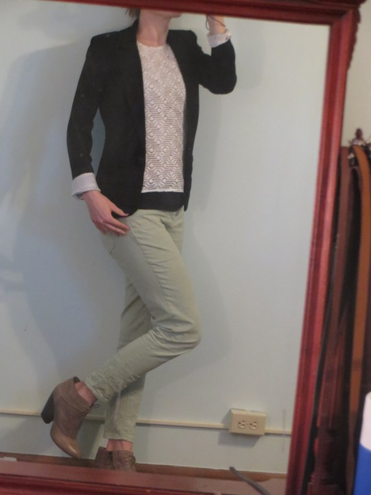 Muted green pants with a blazer - To give a nod that you're in the Christmas spirit while still being work appropriate.