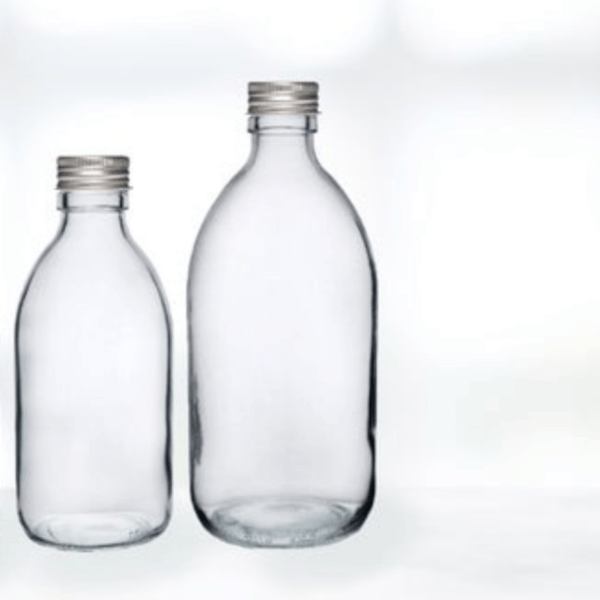 clear glass bottle