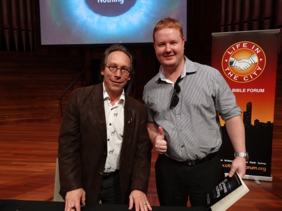 Professor Lawrence Krauss and Mr Christopher.
