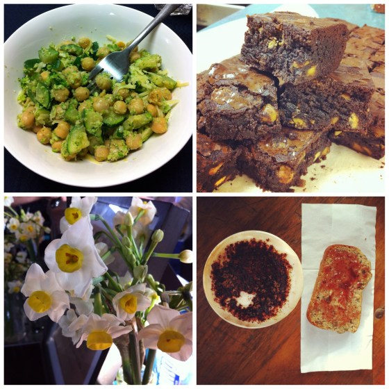 Pesto, gluten-free Brownies, market breakfast, and jonquils at my favourite coffee stand.