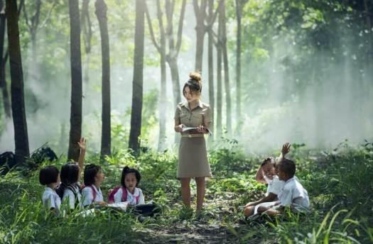 A teachers stands in a forest surrounded by her pupils. The affordances of this environment will shape how she teaches.