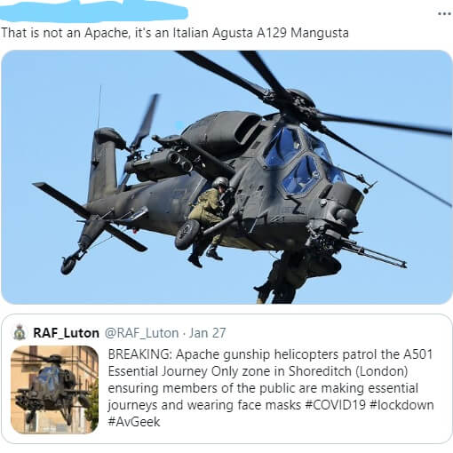 'That is not an Apache, it's an Italian Augusta A29 Manguasta' Example of one of the Gricean Maxims, the maxim of quality, being flouted, with consequences