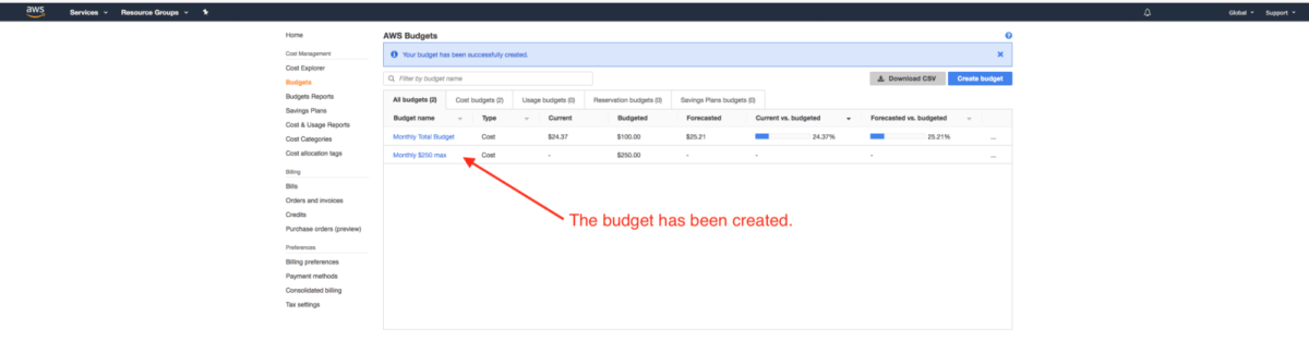 An example of an AWS Budgets having been created.