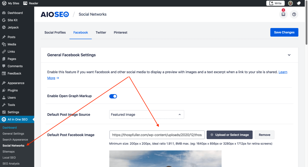 The AIOSEO pack Social Networks tab with a pointer to the Default Post Facebook Image text box.