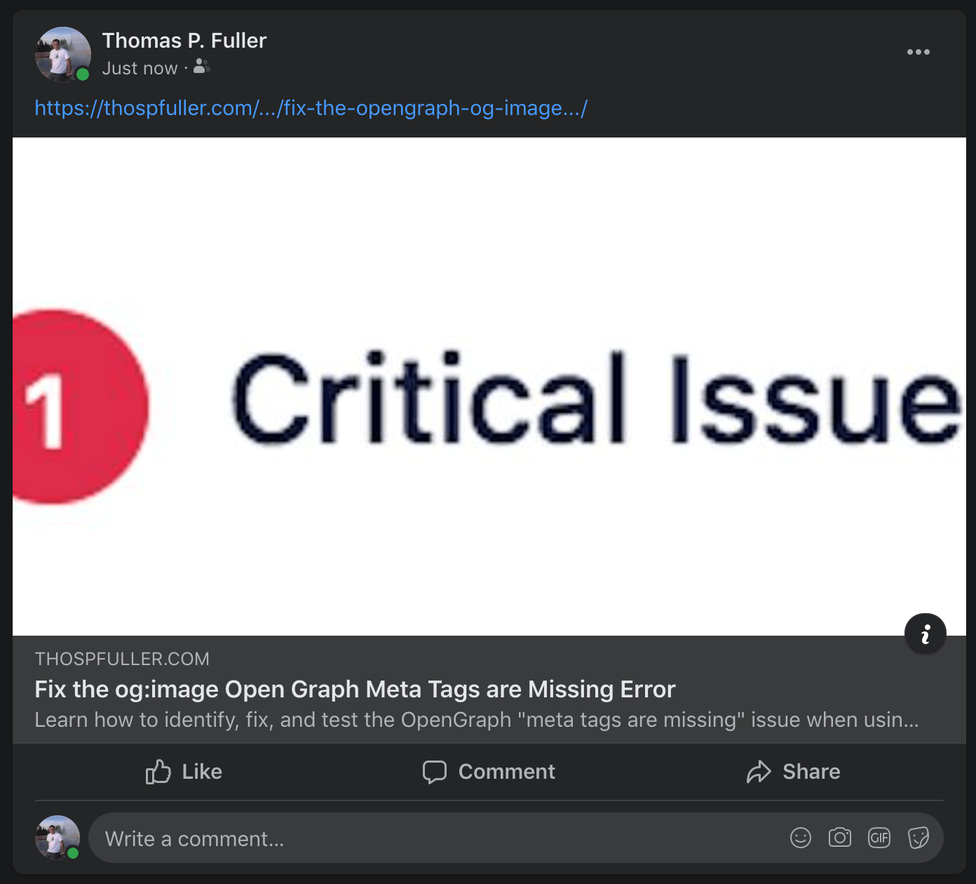 "A Facebook preview of a message regarding the og:image Open Graph meta tag which has ""1 Critical Issue"" in the middle."