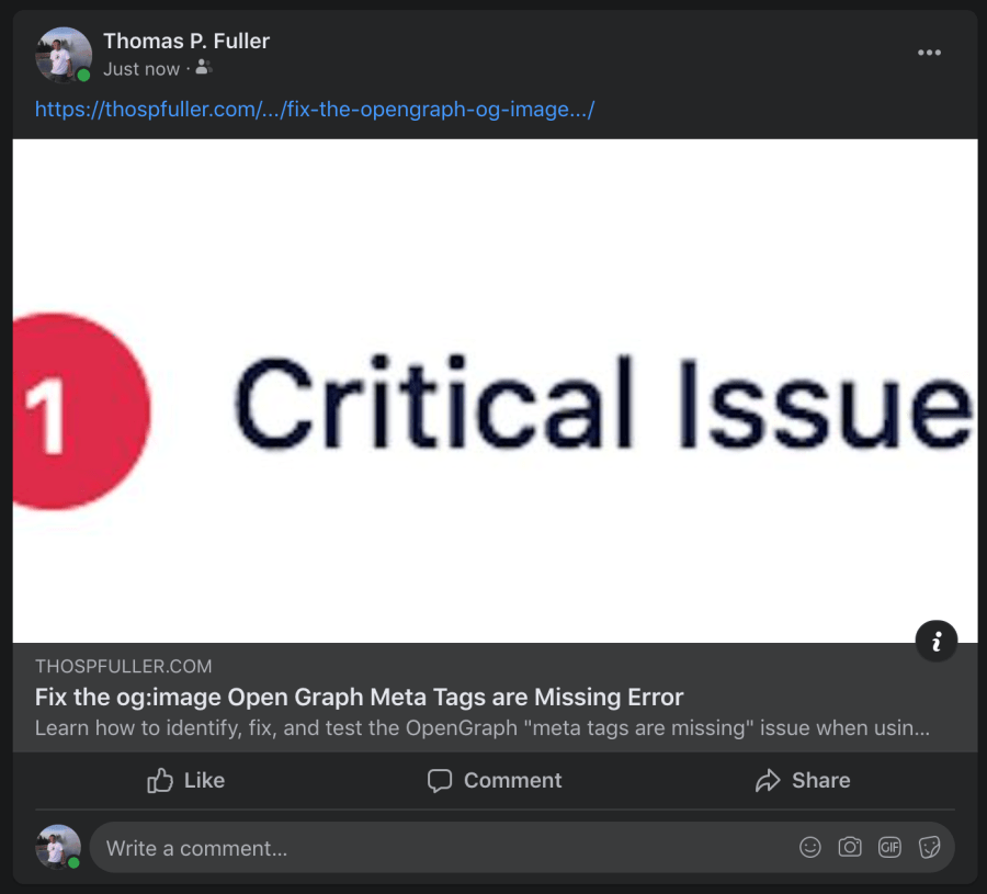 A Facebook preview of a message regarding the og:image Open Graph meta tag which has