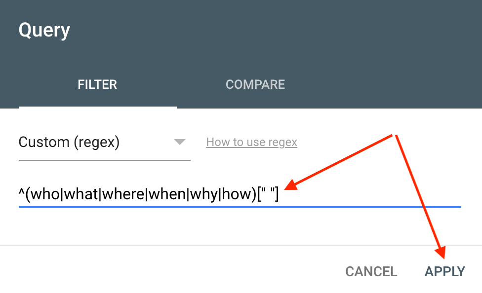 Add the custom regular expression (regex) to the query filter and apply