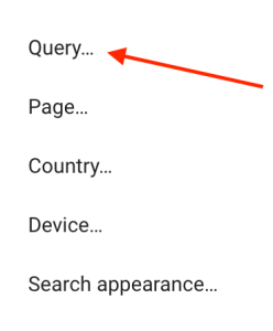 Google Search Console -> Performance -> New -> Query