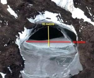 Com o degelo da Antártica, começarm a surgir várias entradas para o interior do terreno em diferentes locais