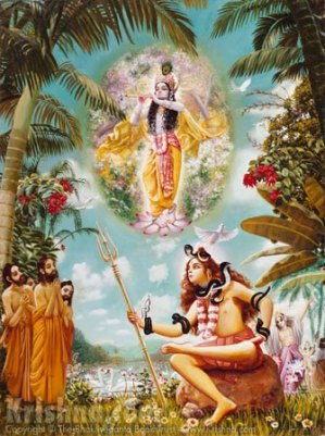 """Out of his great mercy Lord Shiva told the Prachetas, """"Now I shall chant one mantra which is not only transcendental, pure and auspicious, but is the best prayer for anyone who is aspiring to attain the ultimate goal of life. When I chant this mantra, please hear it carefully and attentively."""" Thus Lord Shiva chanted a prayer in glorification of the Supreme Personality of Godhead. Shiva addressed the Lord, """"My dear Lord, by expanding Your transcendental vibrations, You reveal the actual meaning of everything. You are the all-pervading sky within and without, and You are the ultimate goal of pious activities executed both within this material world and beyond it. I therefore offer my respectful obeisances again and again unto You.""""-Srimad Bhagavatam Canto 4, Chapter 24"""