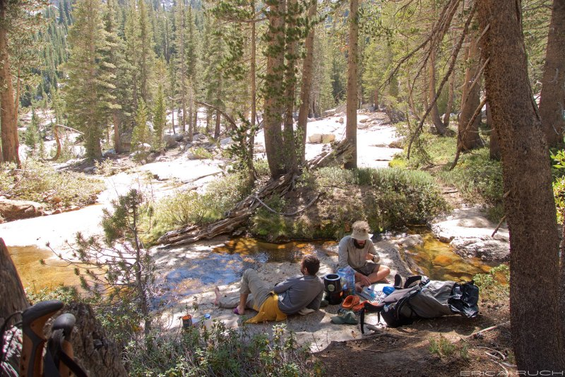 Friz and Slippers on our lunch break by Silver Pass Creek