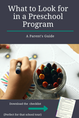 preschool tour checklist