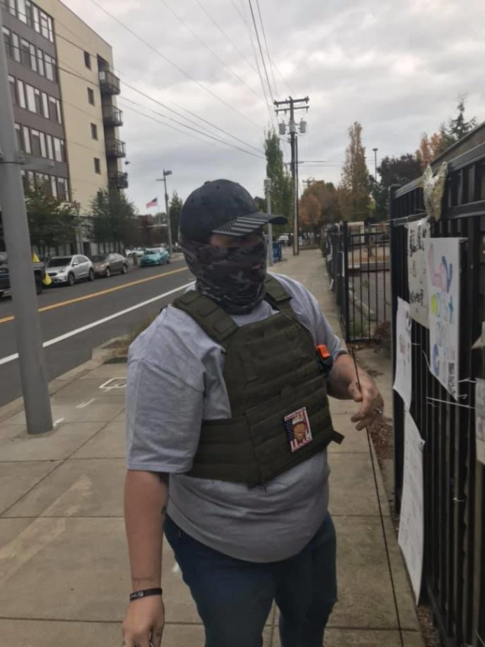 'karen' decked out in tactical gear destroys school children's wall of art supporting blm