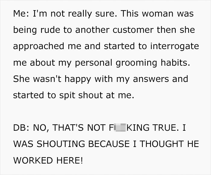 "entitled ""karen"" mistakes customer for an employee, he makes the situation hilarious for himself"
