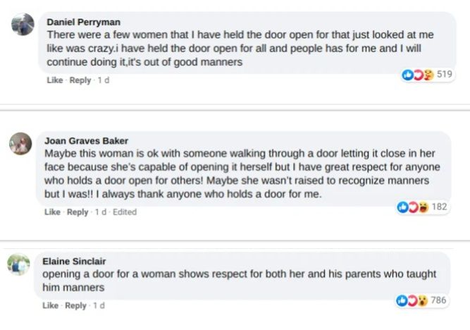 one woman tweeted that men should stop holding doors open for women and compares it to 'putting a dog on a leash'