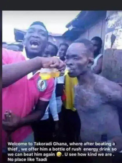 youths give energy drink to thief so they can beat him again
