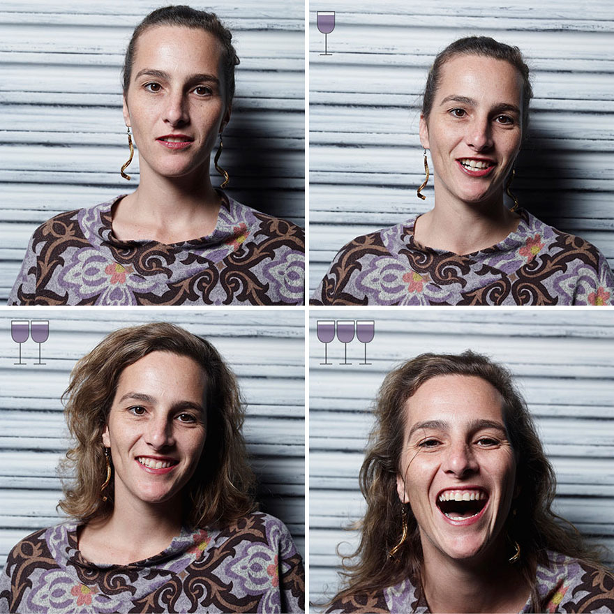 fun, revealing portraits of people after one, two, and three glasses of wine