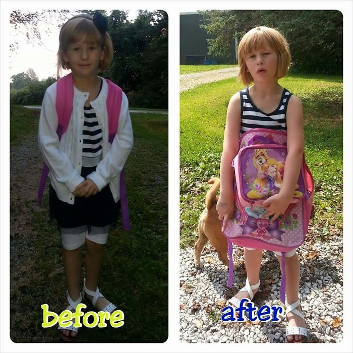 13 before and after photos of kids on their first day of school that prove first days are rough