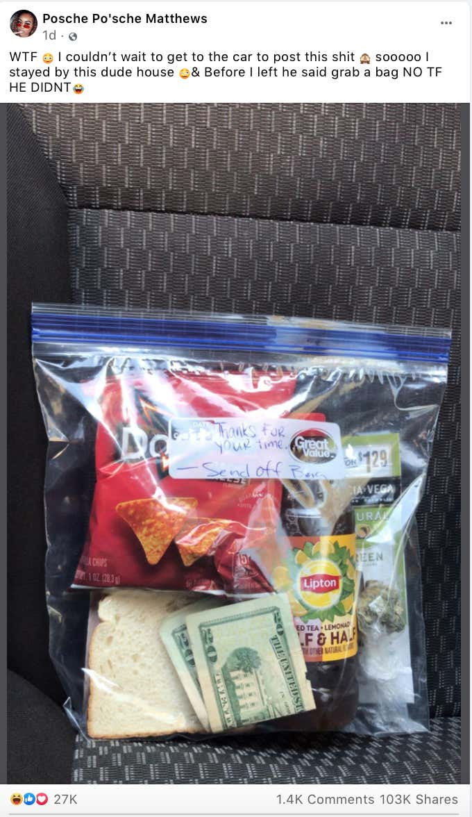 man provides morning-after 'sendoff bags' for women he shags including cash, weed & doritos