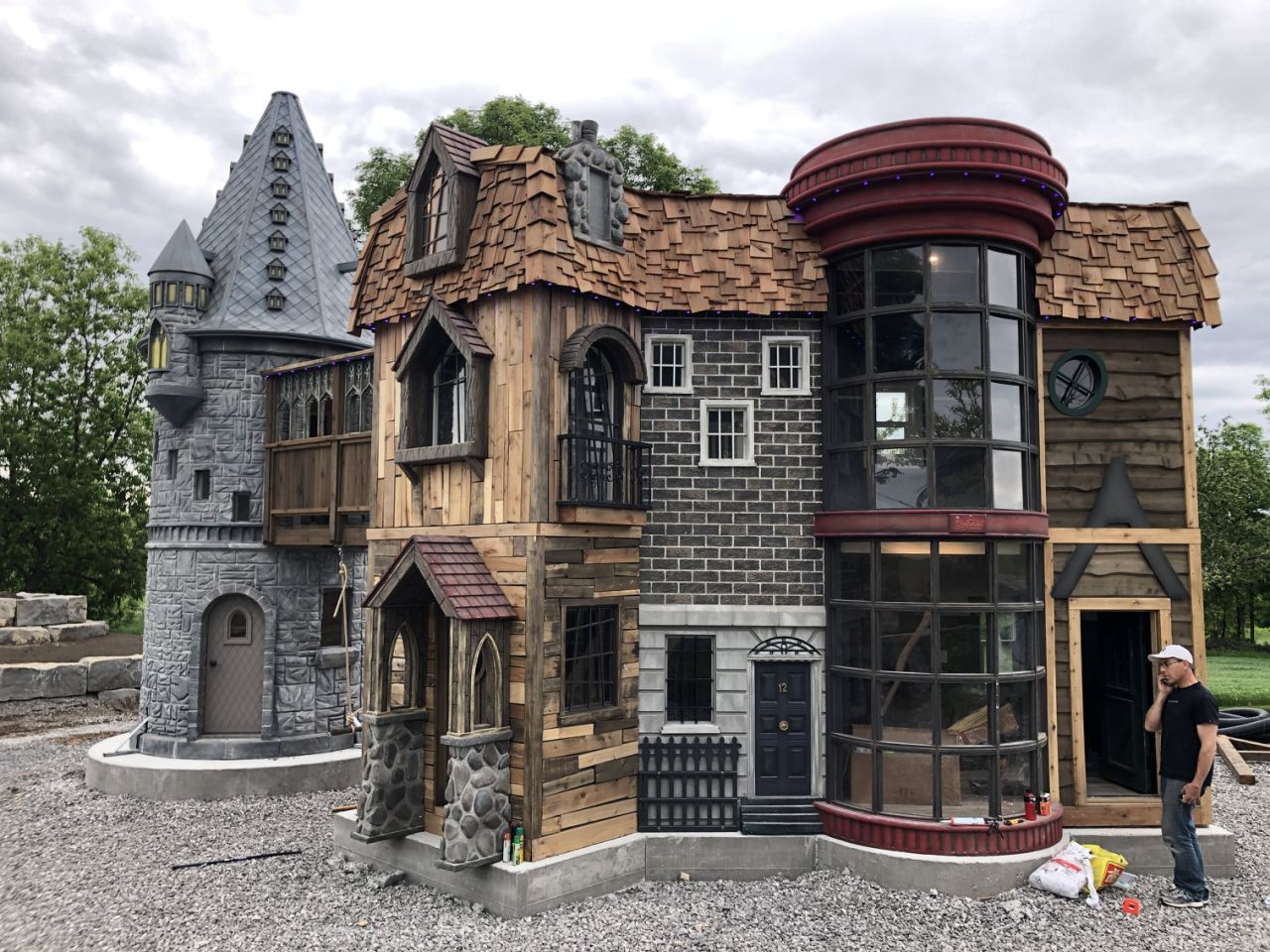 generous grandparents spoil their granddaughter with life-size harry potter playhouse