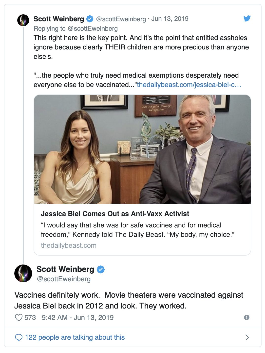 jessica biel is an anti-vaxxer now (according to the internet)