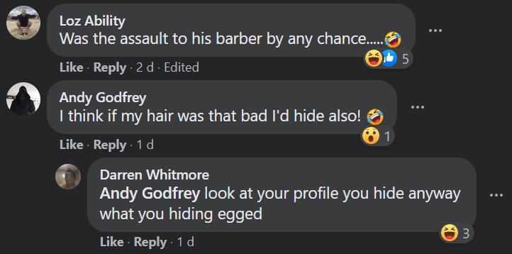 man comments on his own police wanted poster to defend his bad hairdo