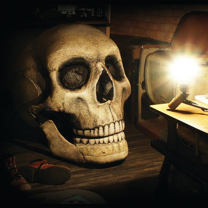 this giant skull chair with movable jaw is must-have furniture for your halloween