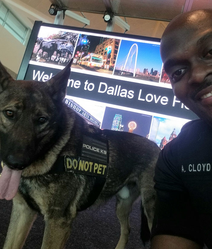 woman shares photos of a cop taking selfies with his service dog— he replies with pics