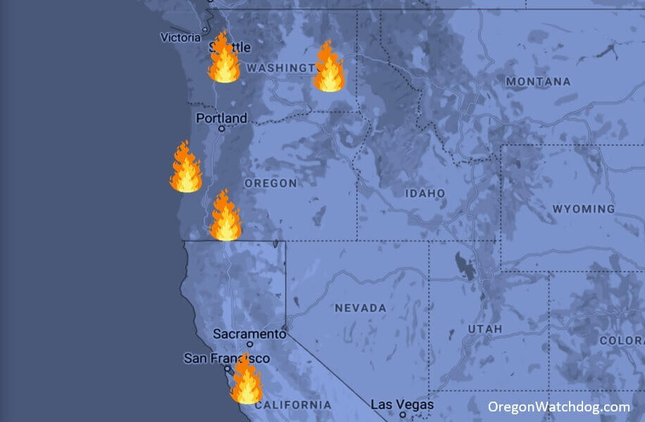 four people arrested for suspected arson, intentionally setting wildfires in california, oregon, washington