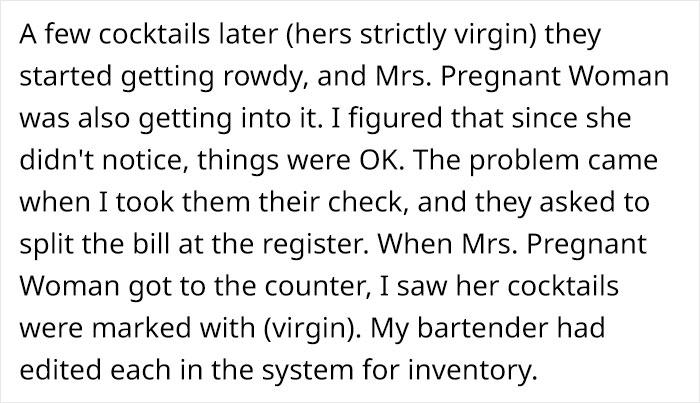 restaurant server secretly gives pregnant woman non-alcoholic cocktails, faces backlash online