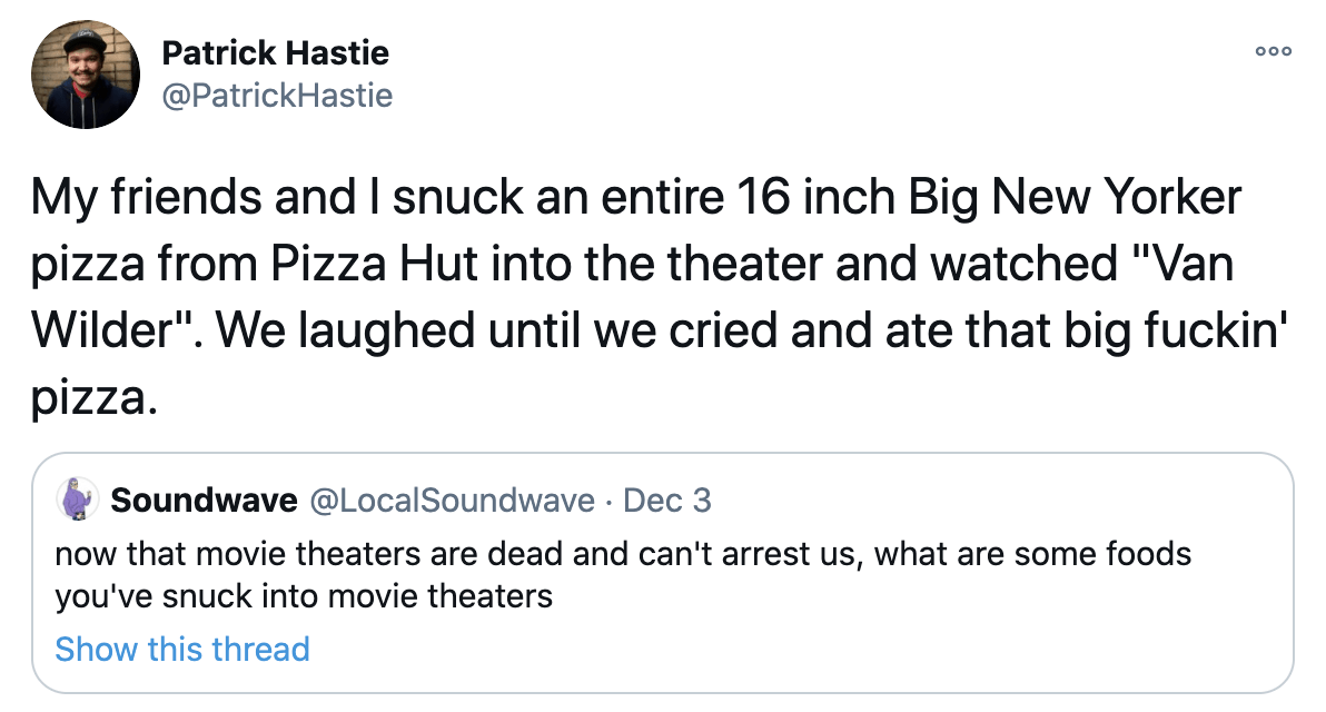 people are sharing the crazy foods they snuck into movie theaters (22 tweets)