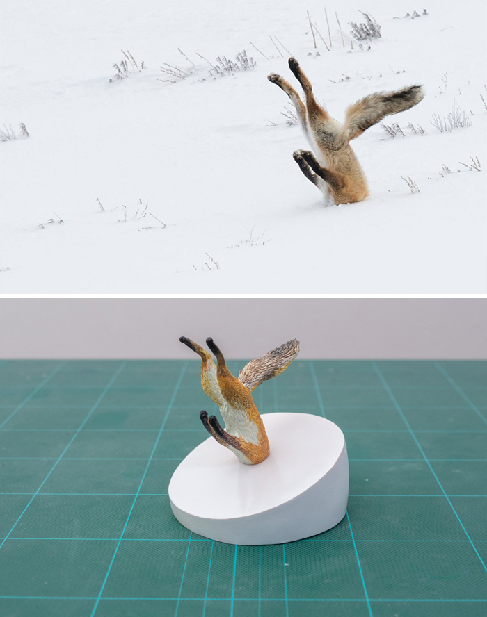 japanese artist turns hilarious animal photos into sculptures, and the result makes them even funnier (30 pics)