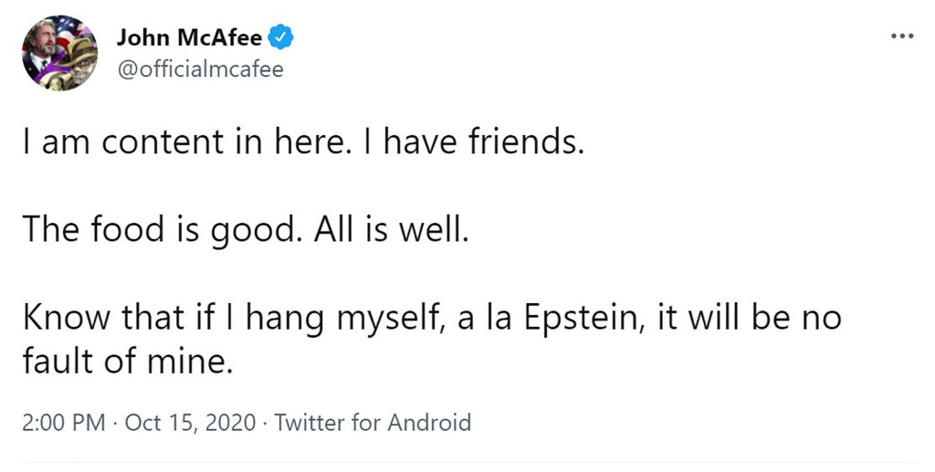 Mcafee Said He Would Not Take His Own Life – Referenced Epstein In Tweet Before Death