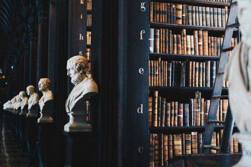 Library with books and busts