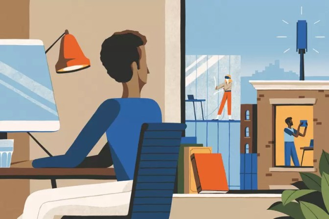 Cartoon picture of someone working from home