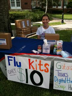 Flu kits for sale on the University of Florida campus