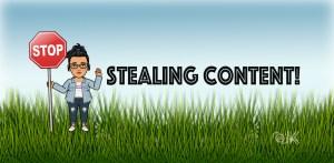 cartoon of keerthi saying stop stealing content
