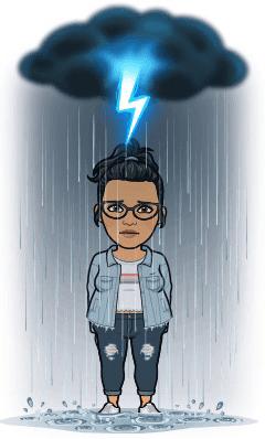 Cartoon representation of keerthi standing in rain feeling angry