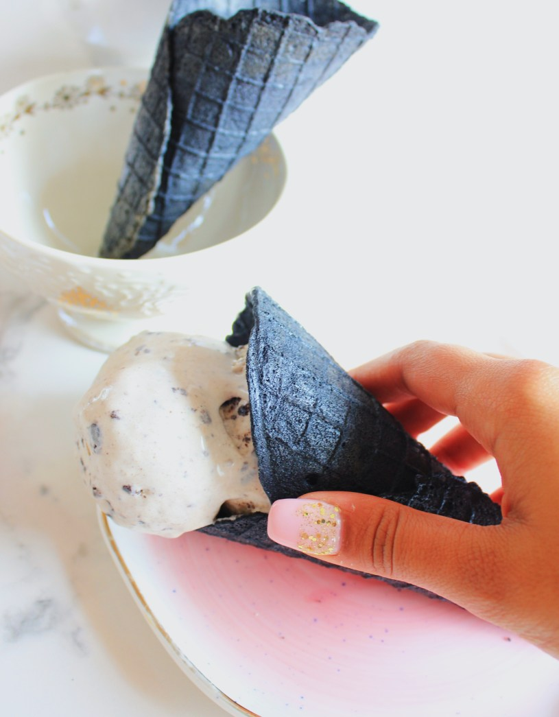 Cookies and cream ice cream in a cone