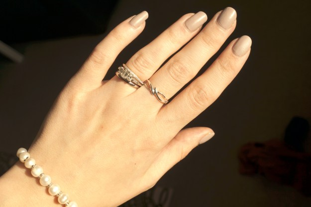 elegant pearls and silver ring