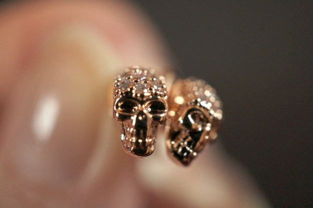 rosy rock skull earrings
