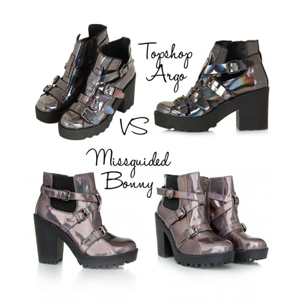 topshop holographic boots comparison