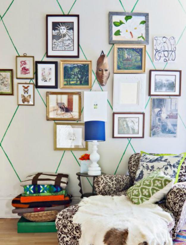 washi tape wall green