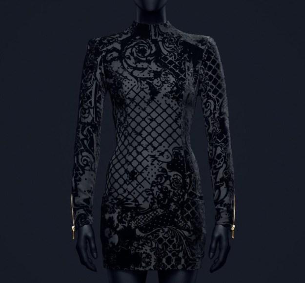 hm-balmain-black-velvet-dress